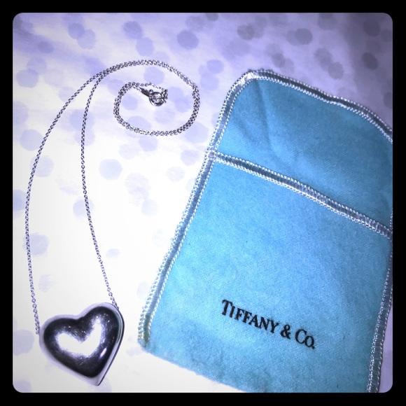 cc155f645 Tiffany & Co. Jewelry | Rare Vintage Tiffany Co Puff Heart Necklace ...